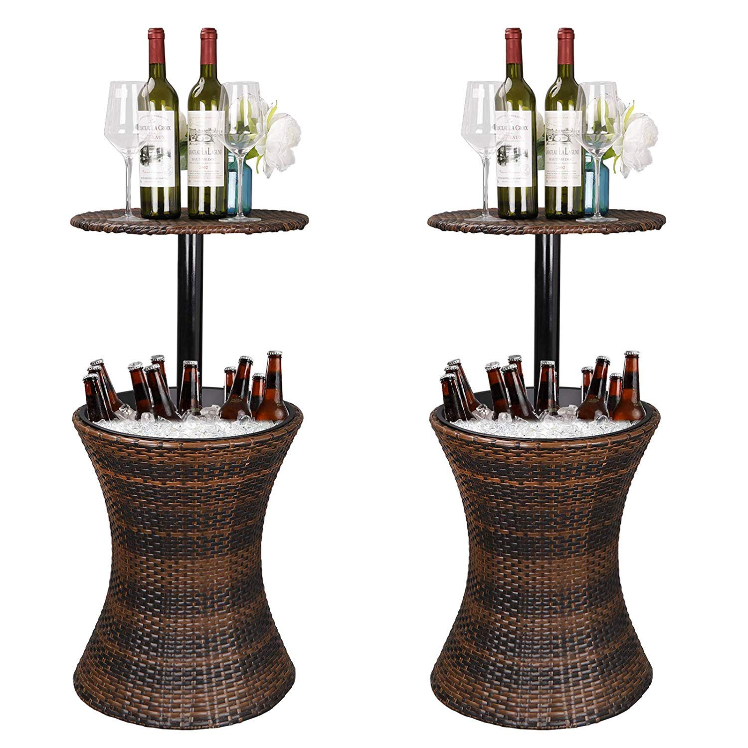 HomGarden Height Adjustable Cool Bar Rattan Style Wicker Ice Bucket Cocktail Coffee Cooler Table All in One - All-Weather Wicker Bar Table for Party, Pool, Patio, Deck, Backyard (Pack of 2)