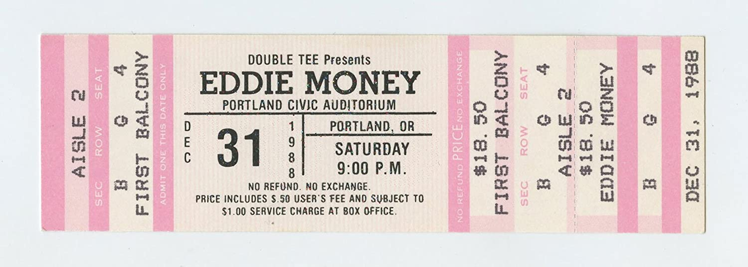Eddie Money Ticket 1988 Dec 31 Starry Night Portland Unused