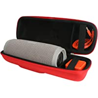 Khanka Portable Etui de voyage Housse pour JBL Charge 3 Waterproof Portable Wireless Bluetooth Speaker. Extra Room For Charger and USB Cable - Rouge