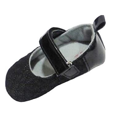 "Baby Shoes with Black Sparkling Front 0-6 Months (3.75"" Insole)"