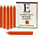 "Exquizite 48 Orange Colored Spell Candles, Unscented 5"" H X 3/5"" D, No Smoke for Spell, Chime, Parties, Wicca Wiccan Supplies"