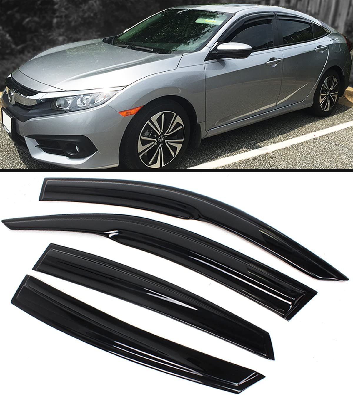 Cuztom Tuning JDM 3D Style Wavy Smoked Window Visor Rain Guard Deflector Fits for 2016-2019 10TH Honda Civic 4 Door Sedan