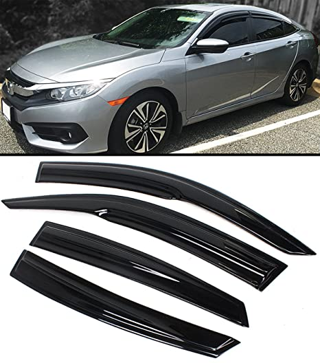 Cuztom Tuning JDM 3D STYLE SMOKED WINDOW VISOR DEFLECTOR FOR 2016 17 10TH HONDA  CIVIC