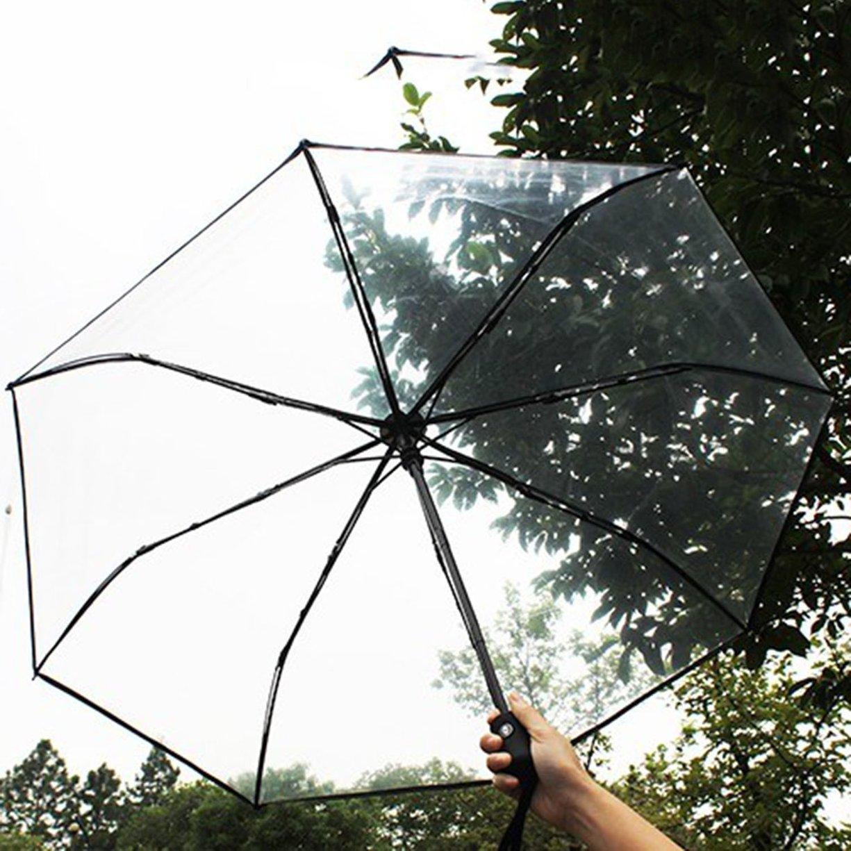 Paraguas transparente para mujer, Paraguas de lluvia con forma de domo, Paraguas auto abierto para palillos, Paraguas de viaje completamente automático, ...