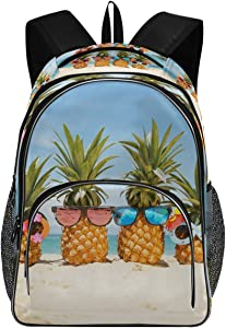 College School Laptop Backpack 15.6 Inch - Pineapples Stylish Sunglasses Waterproof Students Backpacks with USB Charging Port for Women Boys