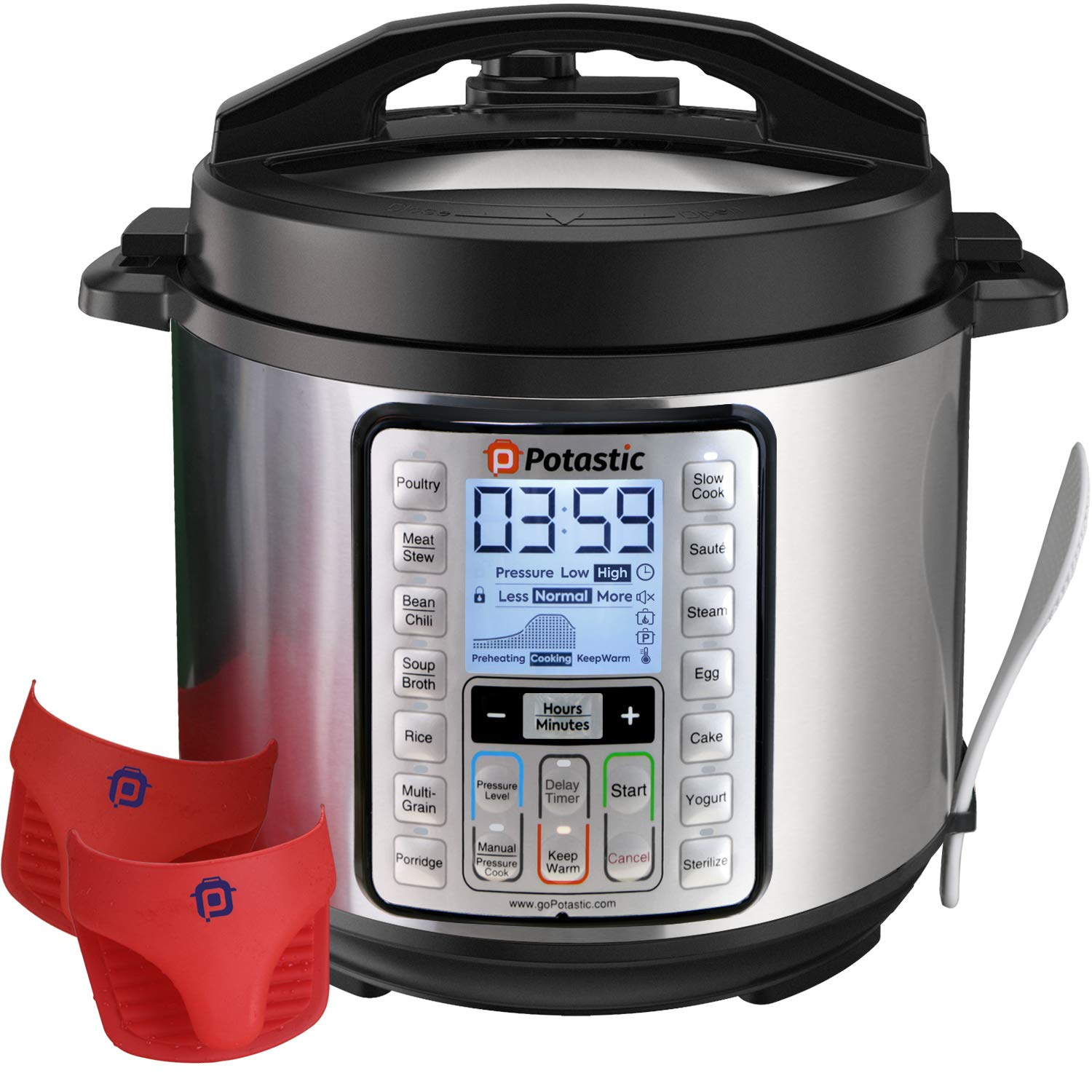 Potastic 6Qt 10-in-1 Programmable Pressure, LCD Display,Instant Cooking with Stainless Steel Pot, Multi, Slow, Rice, Yogurt Maker, Egg Cooker, Saute, Steamer, Warmer product image