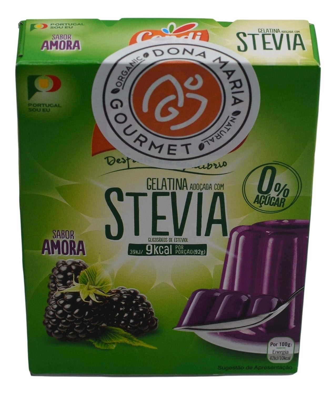 Blackberry Gelatin with Stevia, Zero sugar, All natural vegan dessert 10 servings, Stevia sweetened Gelatin dessert, 0% sugar, non-GMO, Gluten Free, Fat Free, Vegan, Keto Friendly