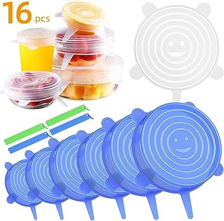 Coperchi Silicone Coperchi in Silicone Stretch 6-Pack Coperchio Per Conservazione,Contenitori Per Alimenti Coperchi Per Alimenti,Blu Riutilizzabile E Duraturo Per Alimenti