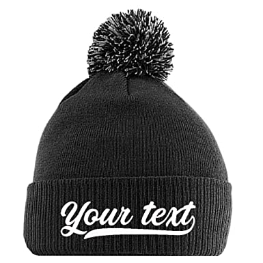 1aa7aae1b19 Custom Text on The Personalised Bobble Beanie Embroidery Make Your own   Amazon.co.uk  Clothing