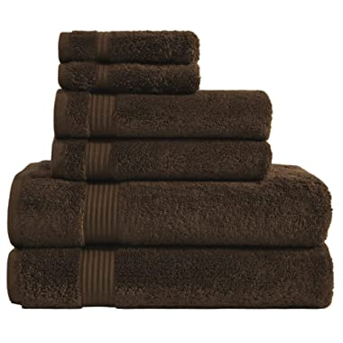 600 GSM Hotel & Spa Quality Super Absorbent & Soft, 6 Piece Turkish Towel Set for Kitchen & Decorative Bathroom Sets Includes 2 Bath Towels 2 Hand Towels 2 Washcloths, Chocolate Brown
