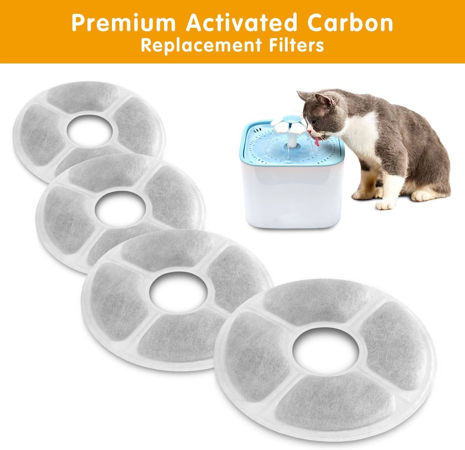 6 Packs Concentrated Carbon Technology Filters for MOSPRO Cat and Dog Automatic Flower Water Dispenser MOSPRO Carbon Replacement Filters for Pet Fountain