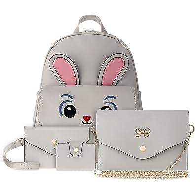 6b2748b779df4 Jugendtaschen-Set Rucksack mit Häschen-Motiv Unterarmtasche Clutch Tasche 4 -in-1