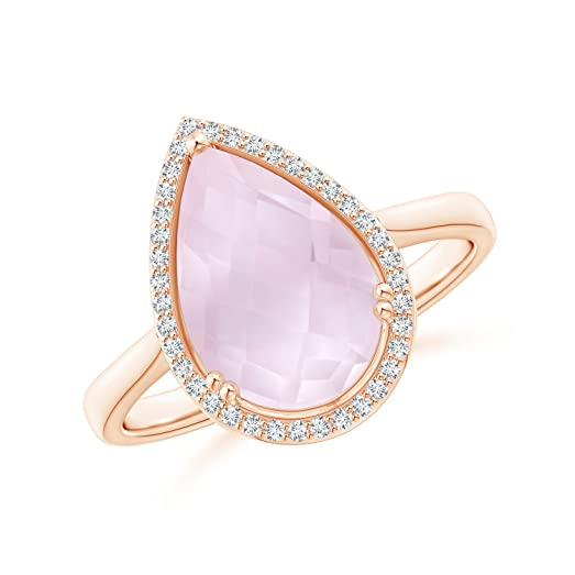 Angara Pear-Shaped Rose Quartz Cocktail Ring with Diamond Halo UG04Dp6Ds