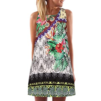 Mujer Verano Flores Vestido Rodillera larga Cóctel vestido Skater vestido Fiesta Vestido Vintage boho mujeres verano