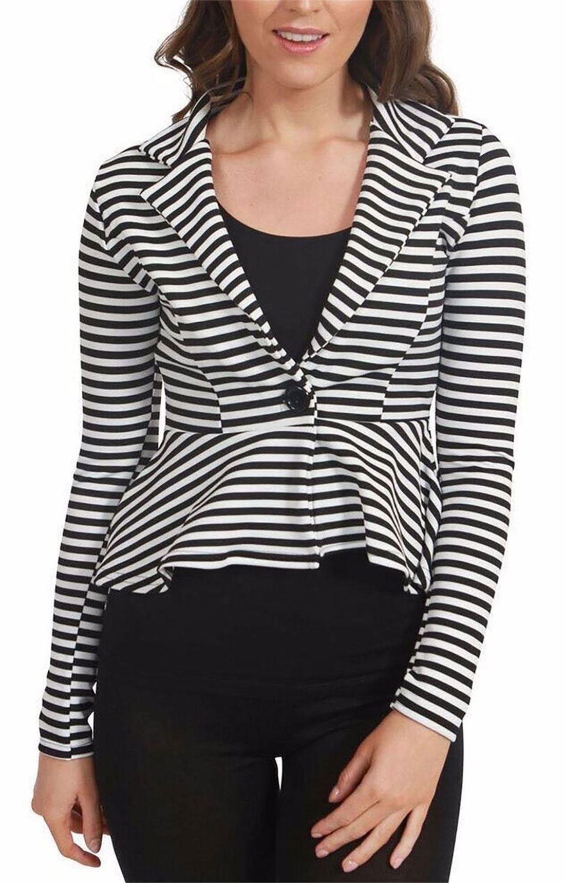 Ladies Slim Fit Striped Jacket Womens Long Sleeve One Button Peplum Blazer Coat#(Black And White Stripe Printed Peplum Blazer Coat#UK 12-14#Womens)