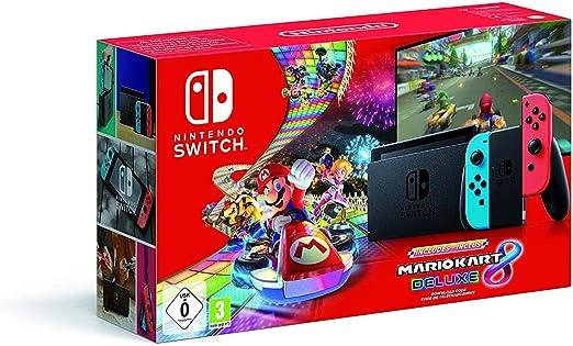 Nintendo Switch - Consola Nintendo Switch Rojo / Azul neón (Modelo 2019) + Mario Kart 8 Deluxe - Edición limitada: Amazon.es: Videojuegos