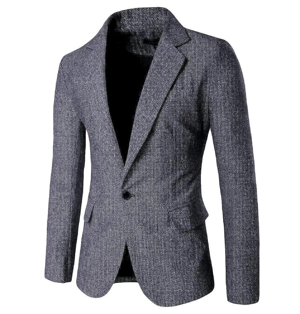 Zimase Mens Career Mid-Long Silhouette Button Down Suit Coat Blazer
