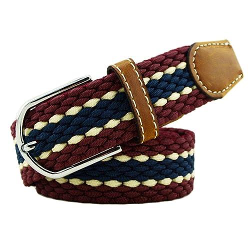 Mujeres Lona Trenzada Cinturón Señoras Vintage Ancho Elástico Estiramiento Cinturón Cincha Cinch Retro