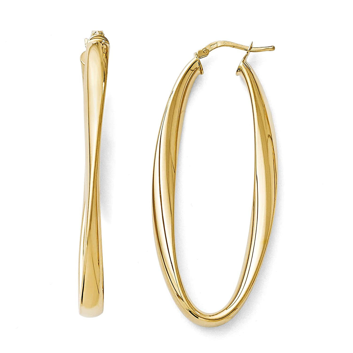 Q Gold Bronze Polished Twisted Oval Hinged Hoop Earrings