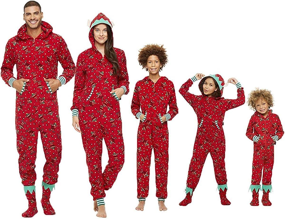 Christmas Family Matching Hoodie Pajamas Reindeer Romper Long ...