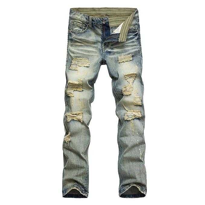 XIAOXUE Pantalones Vaqueros Retro Rasgados De Los Hombres ...