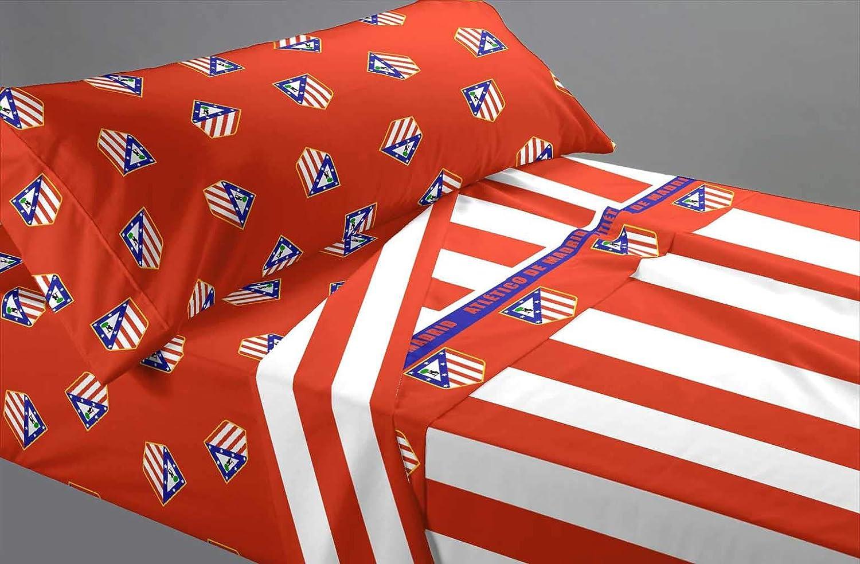 Atlético de Madrid Juego 3 Piezas (Sábana, Bajera y Funda Almohada), para Cama 90/105 cm, Multicolor, 90 x 105 cm