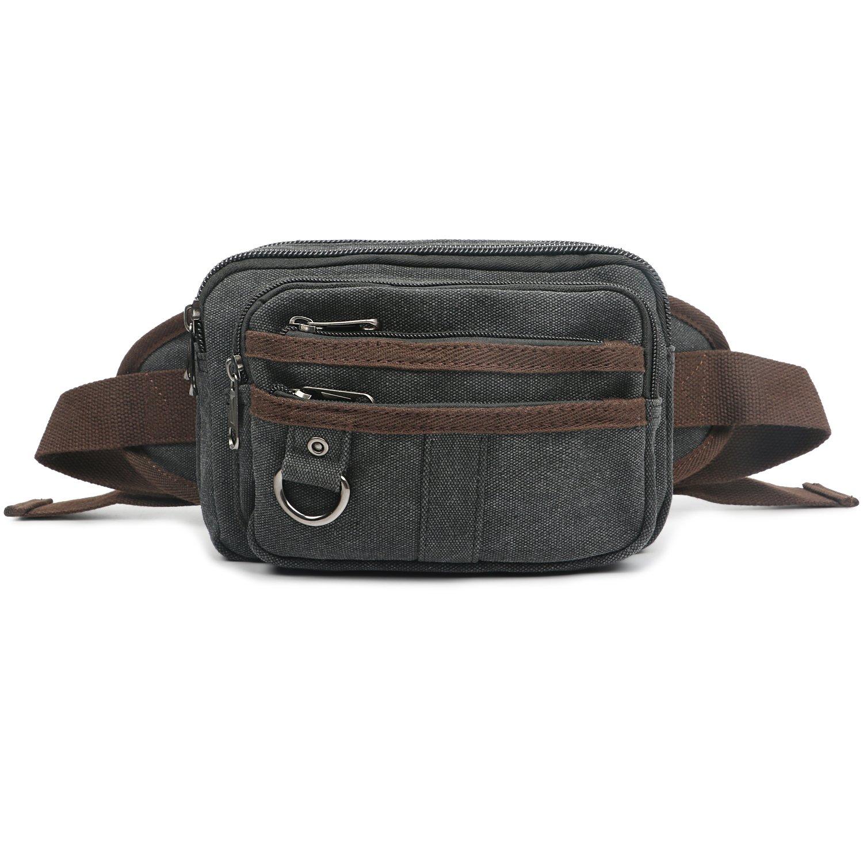 Oflamn Mens Canvas Waist Pack Running Sling Backpack Crossbody Bag Fanny Packs (Black)