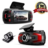 Dash Cam, Car Full HD 1080P Dash Camera Dual Lens Recorder Front + Rear Dashboard Camera with G-Sensor, Loop Recording, Parking Monitoring, Motion Detection