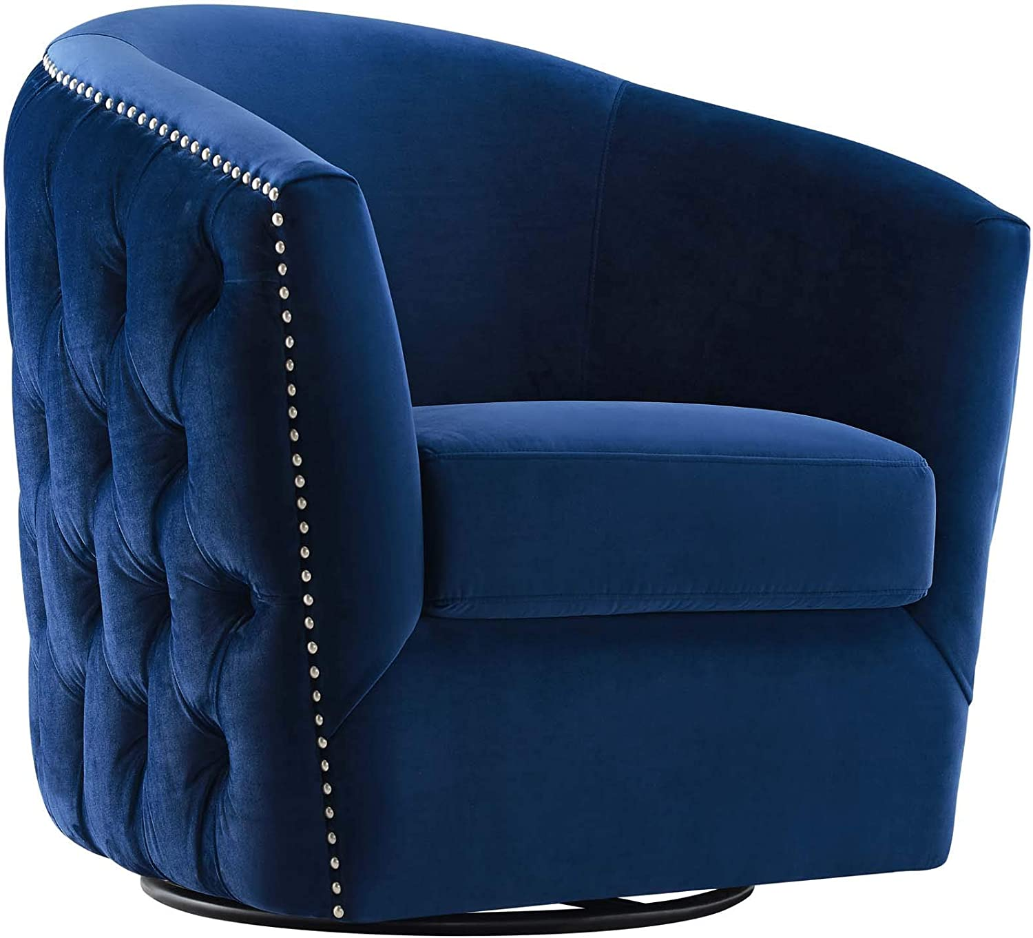 Modway Rogue Performance Velvet Barrel Back Accent Lounge Swivel Chair in Navy