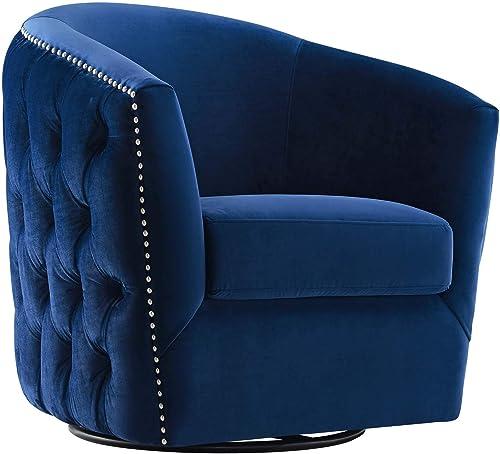 Modway Rogue Performance Velvet Barrel Back Accent Lounge Swivel Chair