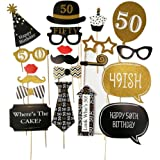 KimmyKu 30th 40th 50th 60th 16h Birthday Photo Booth Props Fun Party Decorations Photo Props Party (50th)