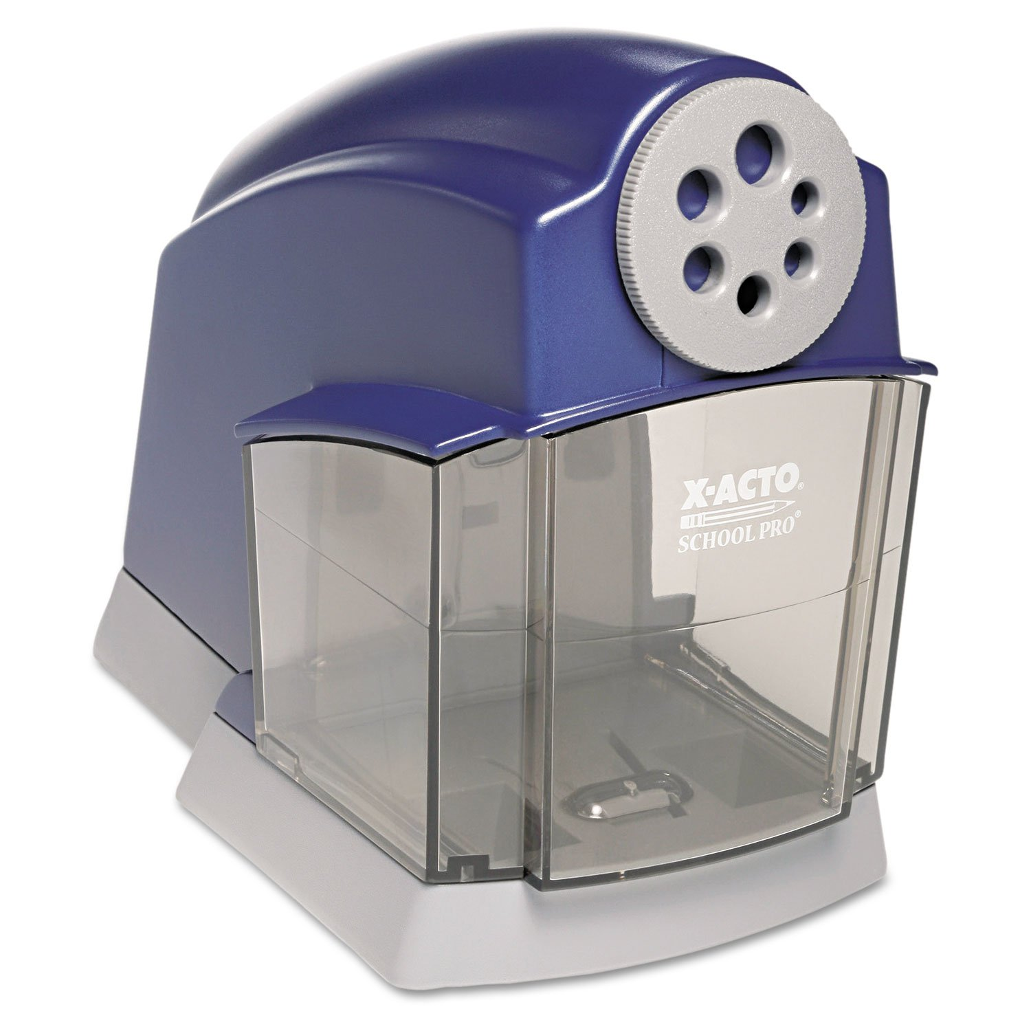 Elmers School Pro Electric Pencil Sharpener - Desktop - 6 Hole(s) - Blue, Gray