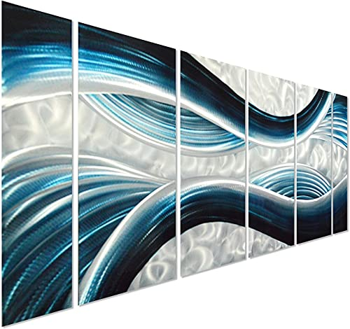 Pure Art Blue Desire Metal Wall Art, Large Scale Decor in Abstract Ocean Design, 3D Wall Art for Modern and Contemporary Decor, 6-Panels Measures 24 x 65 , Great for Indoor and Outdoor Settings