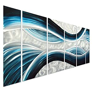 "Pure Art Blue Desire Metal Wall Art, Large Scale Decor in Abstract Ocean Design, 3D Wall Art for Modern and Contemporary Decor, 6-Panels Measures 24""x 65"", Great for Indoor and Outdoor Settings"