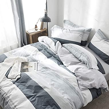 VClife Cotton Grey-Blue Queen Duvet Cover Sets for Boy Man Luxurious Chic Geometric Bedding Sets with Envelope Pillowcases Good Gift for Kids Teens Adults Queen- Breathable Hypoallergenic Durable