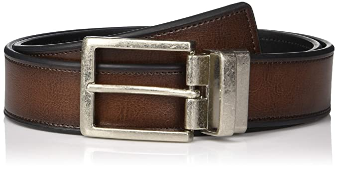 5d80170207bb Perry Ellis Men's Portfolio Beveled Reversible Casual Belt at Amazon ...