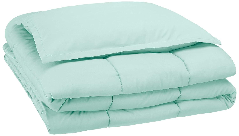 AmazonBasics Easy-Wash Microfiber Kid's Comforter and Pillow Sham Set - Twin, Light Jade Green