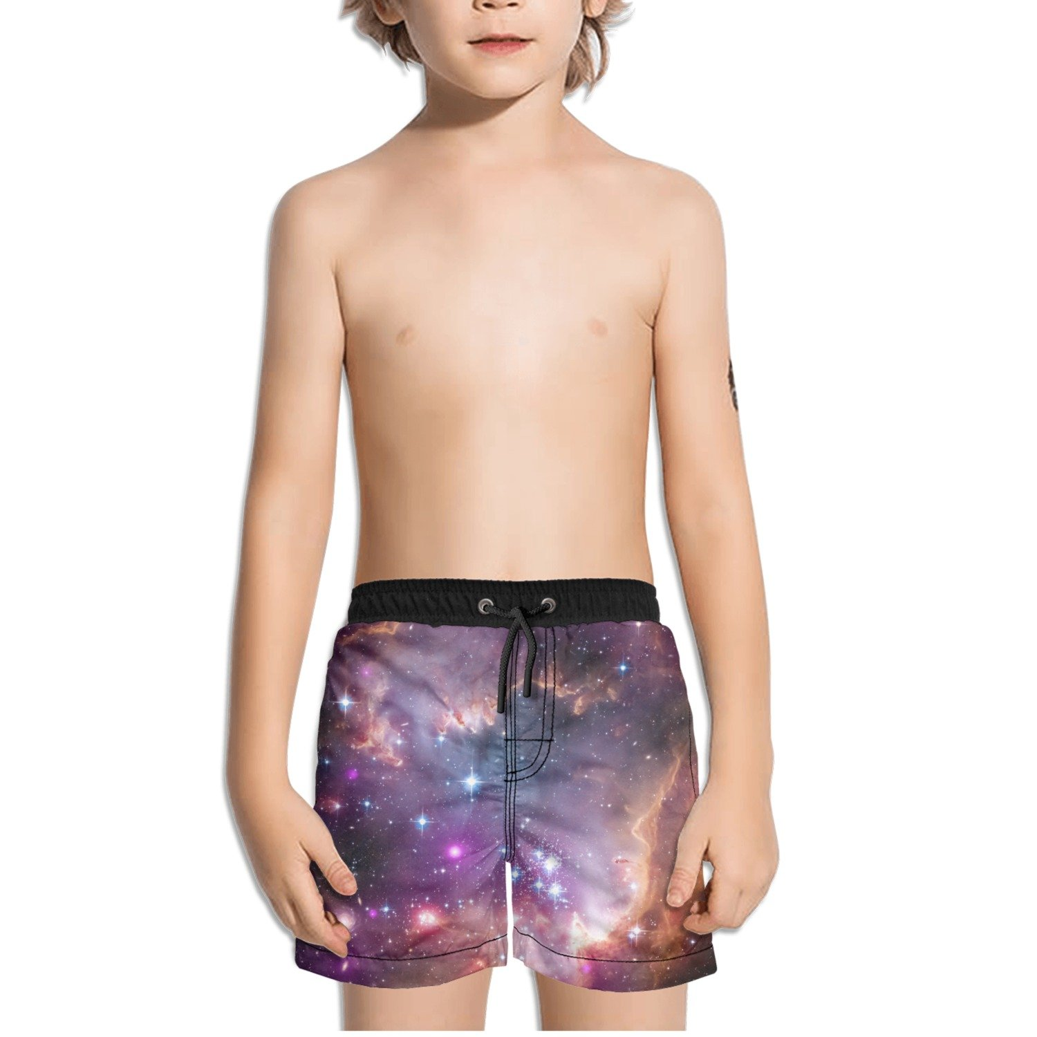 FullBo Nebula Astronomy Galaxy Space Purple Little Boys Short Swim Trunks Quick Dry Beach Shorts