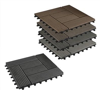 EUGAD 22x Suelo de Exterior WPC 30x30cm Terrazas del Piso 22 Set 2? Baldosas de Madera para Jardin, Terraza Café: Amazon.es: Bricolaje y herramientas