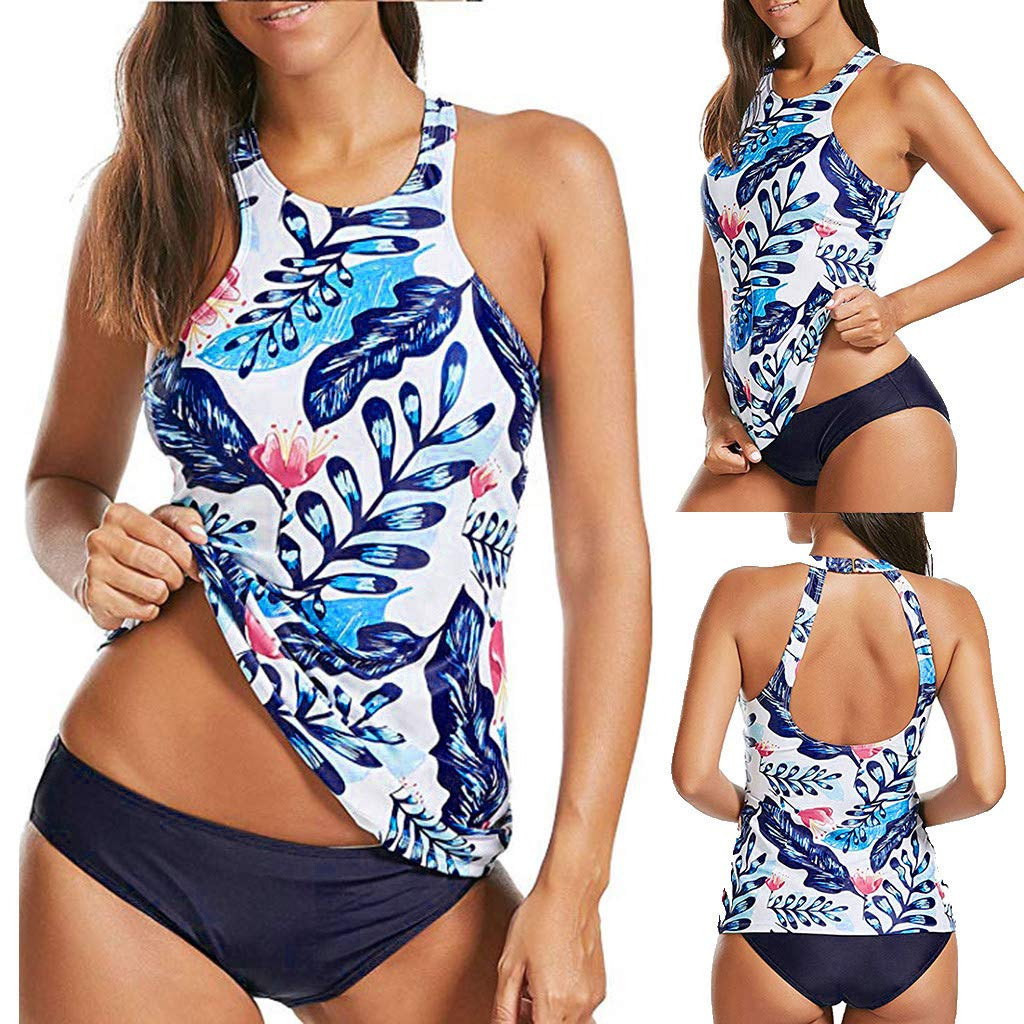 f65c60dfa9 Amazon.com: Women Floral Tankini Tummy Control Swimwear Tank Top Retro  Printed Swimsuit with Boyshorts Two Piece Bathing Suit: Musical Instruments