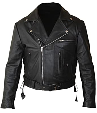 643b61eb4 F&H Men's Terminator 2 Judgment Day Arnold Genuine Leather Jacket
