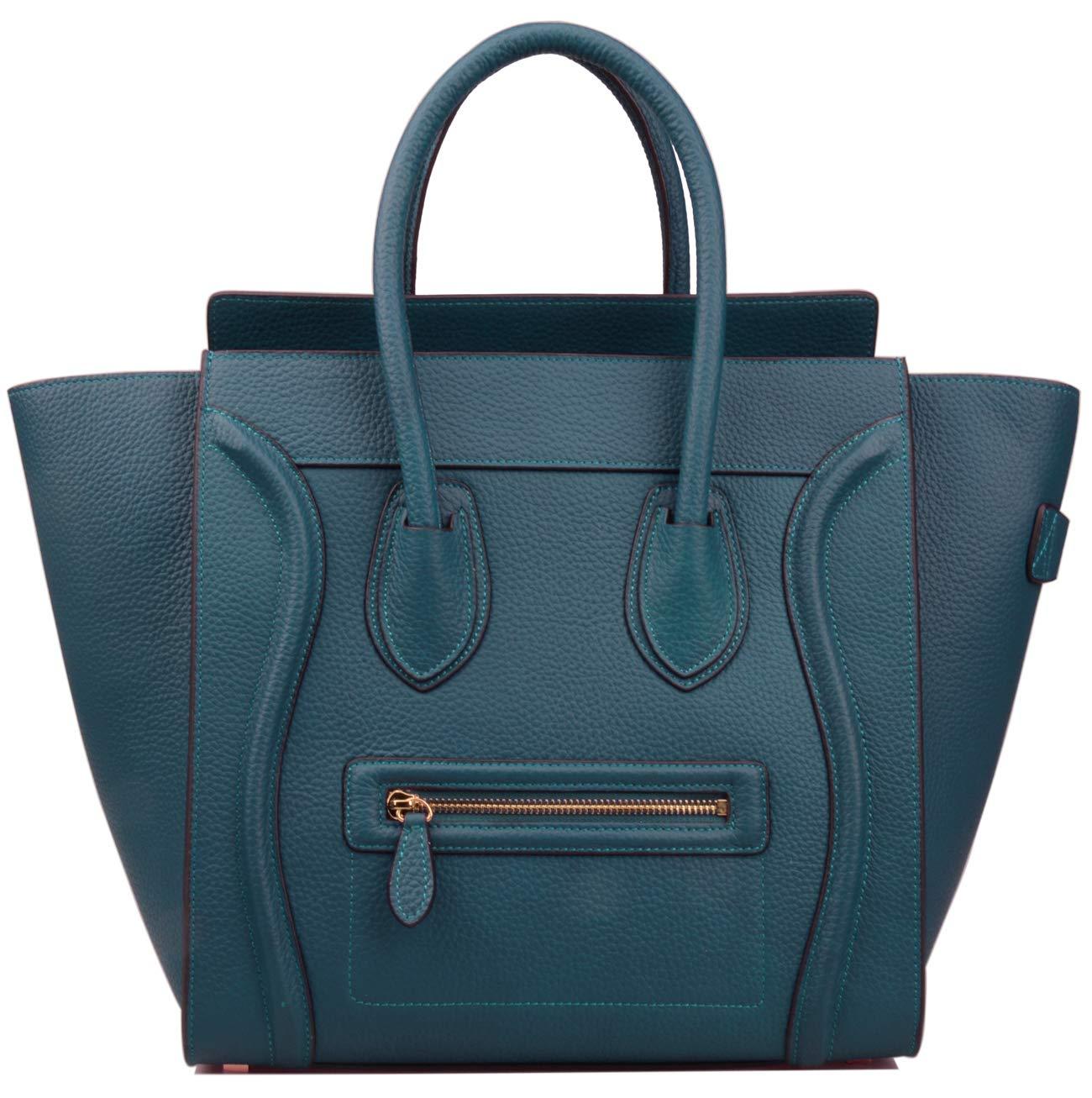Ainifeel Women's Genuine Leather Smile Large Top Handle Handbag Purse (Large, Peacock blue)