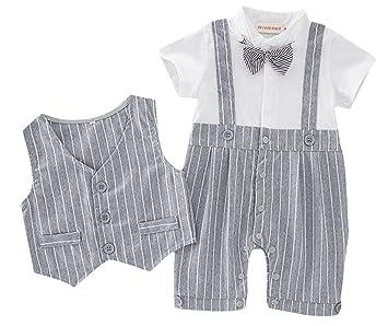 6eb8c8869250b C-Princess ベビー服 フォーマル カバーオール ロンパース+ベスト 2点セット 子供 男の子 赤ちゃん 紳士