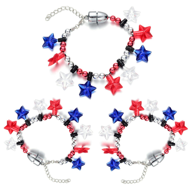 Oaonnea 4th July LED Light up Flashing Bulb Necklace Bracelet Party Favors Foma