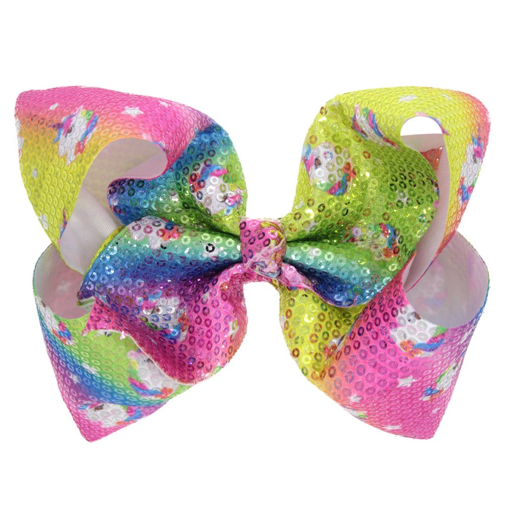 4 Pack 8Inch Large Colorful Bow Hair Clips Barrettes for Baby Girl Toddlers Kids Women (Sparkle Bow Hair Clip-B)