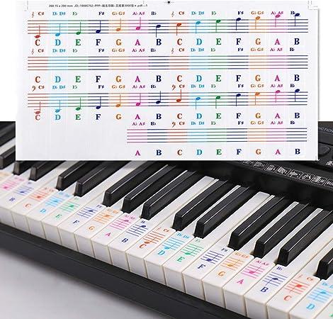 Pegatinas para Pianos o Teclados, Pegatina Notas Etiquetas de Teclas del Piano, Removibles Pegatinas para Notas Musicales para Blanco Llaves, Piano ...