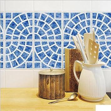 GroBartig MI RAN 20*100cm*4pcs Stück Mediterraner Stil Fliesen Aufkleber Sticker  Folie Selbstklebend