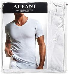 Alfani Mens Tagless 7 Pack V-Neck Undershirts White $40