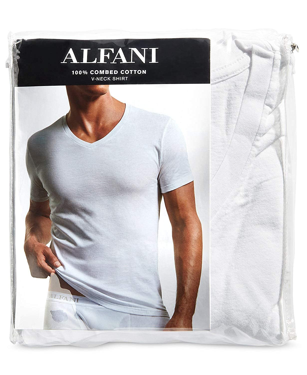 Alfani Mens 100/% Combed Cotton 4 Pack V-Neck Undershirts White Tagless