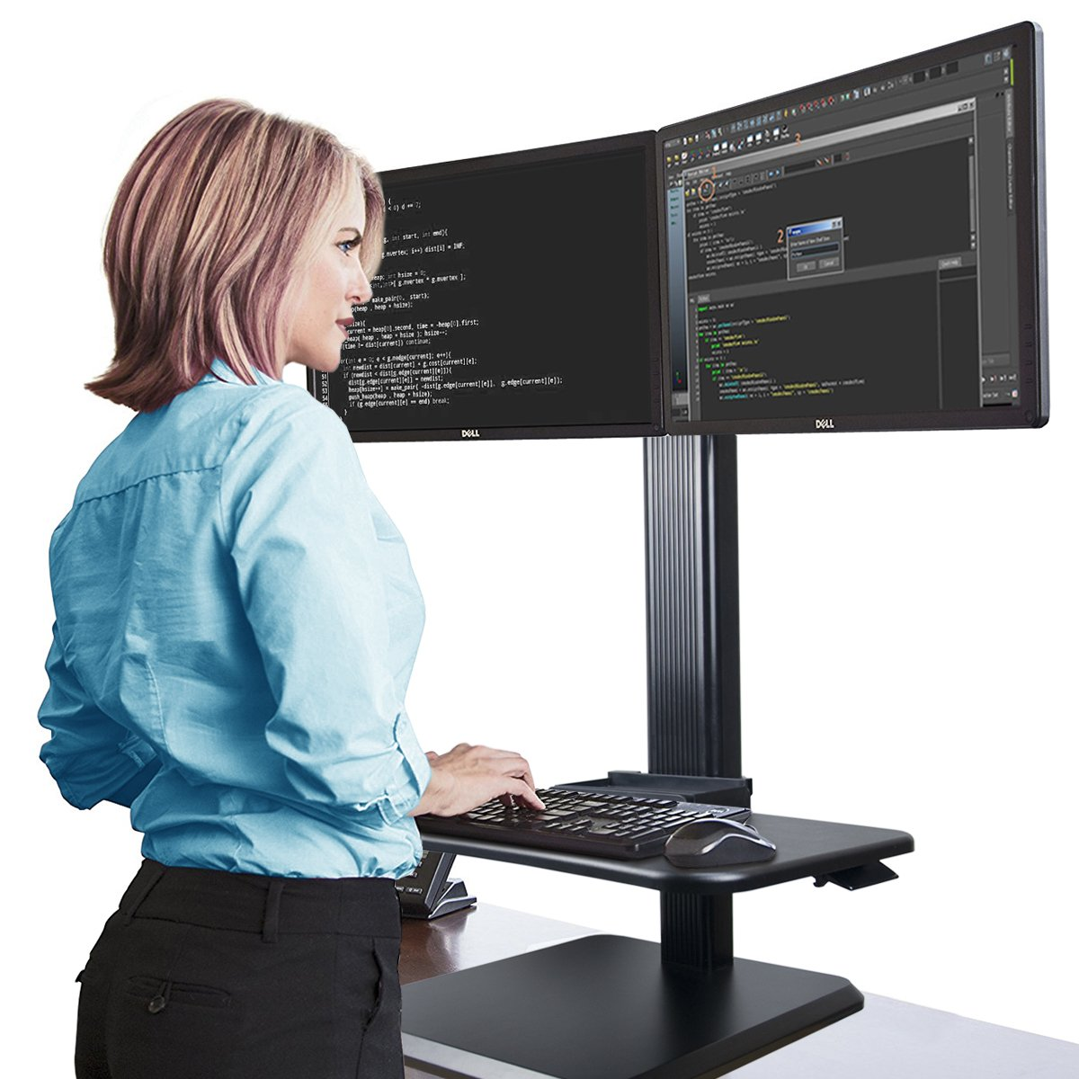 Alice Dual Ergonomic Monitor Stand Up Desk Riser Adjustable Standing Workstation Desk Converter